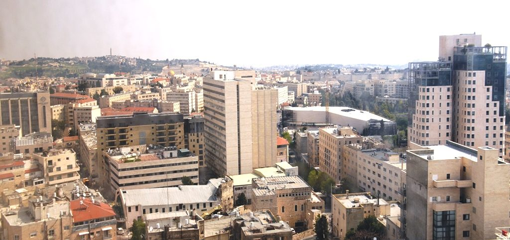 Jerusalem Israel view from city center toward Old City