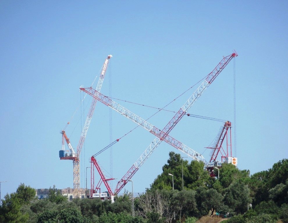 Building cranes in Jerusalem