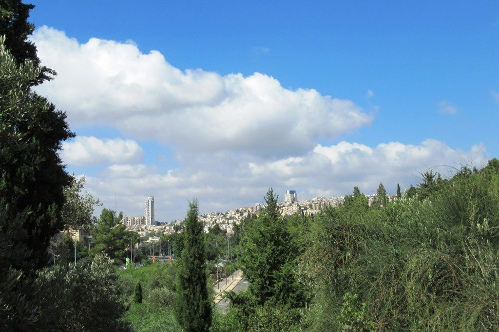 Cloudy day in Jerusalem view of Malha in distance