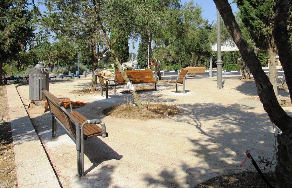 Jerusalem street near Israel Museum new public seating