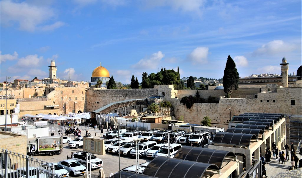 View of Western Wall Plaza from Jewish Quarter stairway, on Friday with police vehicles parked