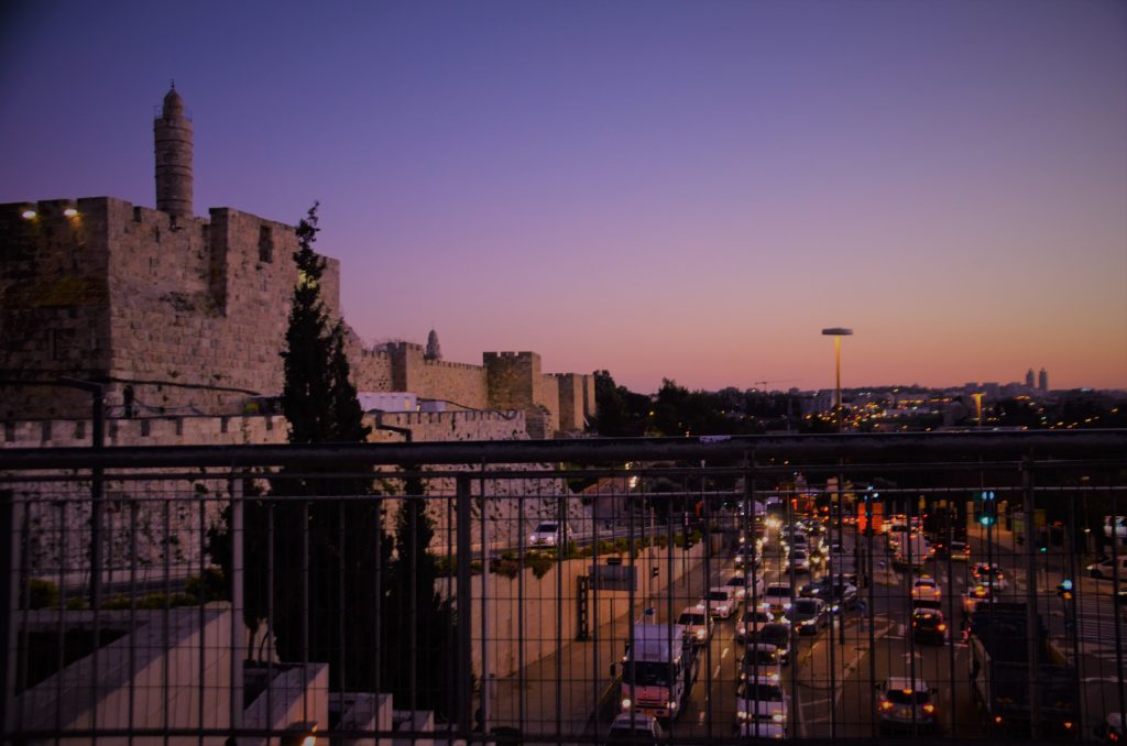 Sun set in Jerusalem Tower of David viewed from Jaffa Gate