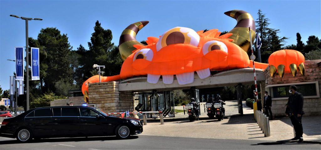 Orange monster over Beit Hanasi in Jerusalem for Purim