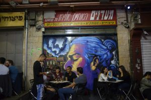 Soloman Sousa painting of Matisyahu in Machane Yehuda Market