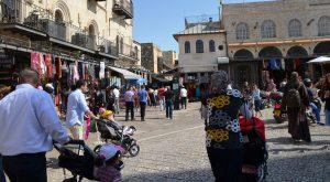 People walking near Jaffa Gate on Friday sukkot