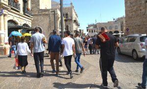 Muslims going to pray on Friday sukkot